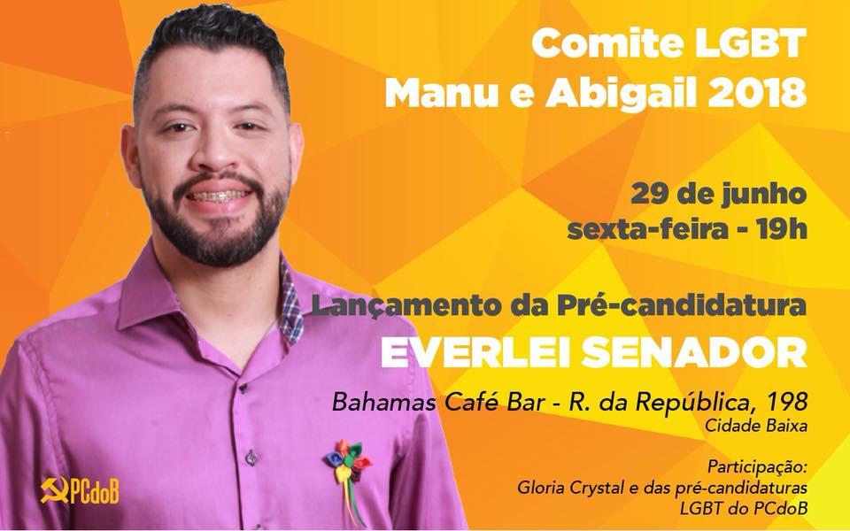 PCdoB-RS lança ativista LGBT, Everlei Martins, pré-candidato ao Senado